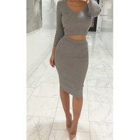 YSMARKET Long Sleeve Short Tops And Midi Pencil Skirts Ladies Elegant Office Clothes Slim Bodycon Knit Two Piece Suit Casual