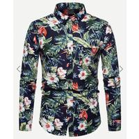OEM Custom Plaid Detachable Plain Polo Rugby Floral  Curved Hem Printed Cotton Men Shirt