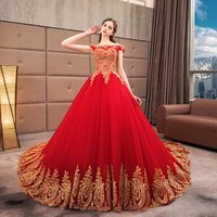 HQ057 Appliqued Gold Lace Off Shoulder Ball gown wedding Evening pattern Red Chinese Traditional dress