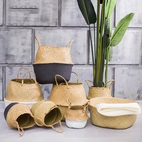 Bathroom baby toy seagrass wicker storage basket with handles for home decoration pots for plant