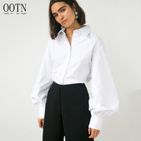 OOTN Female Top Loose Turn Down Collar Fall Winter 2019 Casual Blouses Women Shirt White Tunic Lantern Long Sleeve Office Blouse