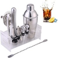12Pcs/Set Bar Wine Mixer Bartender Set Cocktail Hand Shaker Tool With Holder Stainless Steel Mixer Gadget Bar Sets