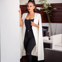 N10002A Best selling autumn new personality solid color long section big cloak Europe and the United States XL womens blazer