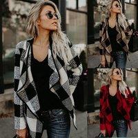 Autumn Winter Cardigan Woolen Coat Women Plaid Coat Long Sleeve Female Overcoat Ladies Jacket Outerwear