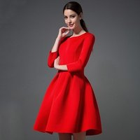 winter on sale women vintage red dress classic round neck long sleeves high waisted solid knitted ball gown dress