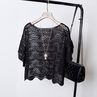 summer scoop neck short sleeve hollow out lace sexy casual transparent women knitted blouse