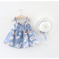 2018 summer 2pcs baby girl casual dress with hat newborn infant clothing