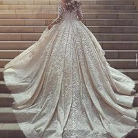 2019 Wedding Dress Muslim Ball Gown Lace Pearls  Bridal Gowns Long Sleeves Vestido de noiva LB191167