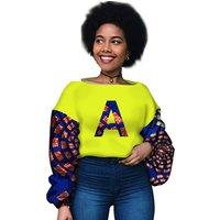 2019 New Dashiki African Women Clothing Bazin Riche Fashion Elegant O-Neck Crop Top Shirts Ankara African Clothing WY3002