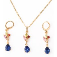 Hengdian 2018 Trending Products Ladies 18K Gold Plated CZ Zircon Gold Necklace Jewelry Set