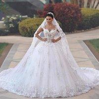 ZH2891G Luxury Princess Ball Gown Wedding Dresses vestido de noiva de 3D Floral Lace Applique Royal Train Bridal Gowns Arabic