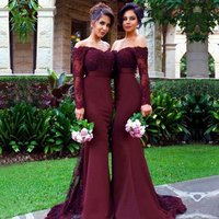 Chiffon Sweep Lace Trial Off The Shoulder Mermaid Maid of Honor Gown Bridesmaid Dresses Long Sleeves made to order dress