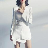 2018 Autumn Winter New Fashion Long Sleeve Suit Dress Women White Elegant OL Formal 2 Piece Dress