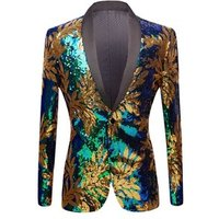 New Green Blue Gold Leaves Pattern Sequins Blazer DJ Night Club Singers Slim Fit Men Suit Jacket Stage Shiny Costume