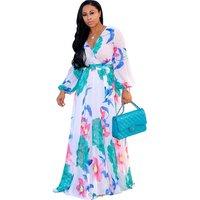 Ethnic new Fashion Women Maxi print dress long high quality Summer Beach Chiffon Party Dress