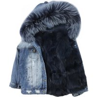Women coat Winter Jeans Short European Denim Jacket With raccoon Fur Collar fox fur lining Coat