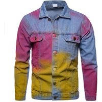 2019 summer new denim jacket personality casual splash jean jacket for men