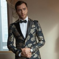 In-Stock Gold Supplier Italy Fashion Host Ceremony Singer Male Coat Pant Sequined Flower 2 Pieces Suit