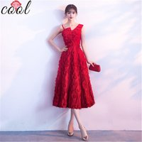 European and American womens red sleeveless lace evening dress formal red dress women