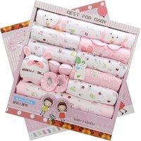 Queena  Spring And Summer Newborn Gift Box 18 PCs Pure Cotton Baby Underwear Newborn Baby Suit