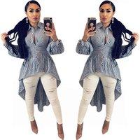 Plus Size Women Casual Long Sleeve Striped Print Shirts Fashion  Blouse Top
