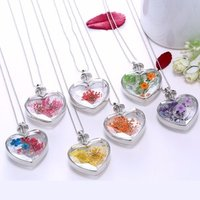 Wholesale heart Real Dried Flower Floating Charm Locket Pendant Necklace