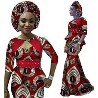 African Print Half Sleeve and Maxi Skirt Autumn Women Matching Clothing Sets Traditional Dashiki African Dress WY2343