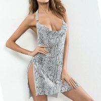 Hallow Out Sexy Sequined Disco Club Party Women Silver Backless Diamond Halter Chainmail Snake Prints Metal Mesh Halter Dress