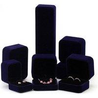Custom Jewelry Packing Set Blue Velvet Box For Rings, Bracelets, Earrings, Necklace