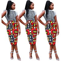 Fashion geometric print red high waist ladies pencil dress women midi skirts