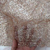 Cheap Rose Gold shining sugar lace sequins glitter tulle lace fabric for evening dress HY0847-3