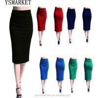 High Waist Pencil Skirt Plus Size Tight Bodycon Fashion Women Midi Skirt Red Black Slit Womens Skirt Fashion Jupe Femme S - 2XL