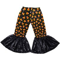 Fashion Little Girls Long Pants Milk Silk Cotton print Baby girls Trousers Bell Bottom