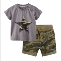 2019 Summer in stock kids boys clothing sets star T-shirts camo shorts 2pcs casual wear 2-7years baby children boys clothes sets