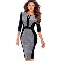 Women Casual Formal Colorblock Bodycon Office Slim Pencil Career Dress
