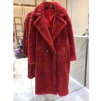 High Quality Ladies Wool Coat Winter Fur Jacket Leopard Print Genuine Warm Teddy Coat
