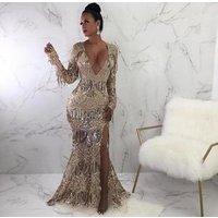 Fashion Sexy Long Sleeve Women Celebrity Night Club Party Bodycon Evening Dress