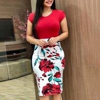 Women Dress Slimming Bodycon Dress Floral Print Short Dress Short Sleeves