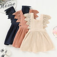 Baby Clothes Baby Girl Dress Summer Lace Cotton And Linen Dress, Three Colors, Retail And Wholesale