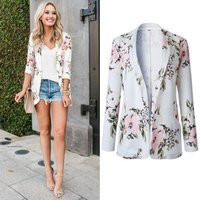 2019 NEW ARRIVAL Womens Long Sleeve Floral Print Classic Quilted Short Bomber Jacket with Pockets