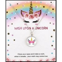 Christmas Gift Stainless Steel Glass Cabochon Pendant Big Middle Little Sister Jewelry Unicorn Choker Necklaces for Women