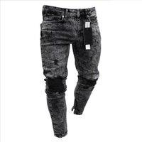 Jeans mens tight grey jogging pants denim streetwear trousers damage garment stock Biker male Destroyed jeans