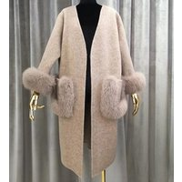 2018 New Street-Style Apparel Fur Trim Parka Double Side Woolen Jackets Hand-Stitched Ladies Korean Cashmere Wool Coat