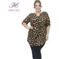 2019 Fashion V Neck Ladies Leopard print Women clothing Plus Size Blouses Tunic Top