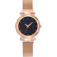 WJ-7921 Mesh Belt Colorful Creative Starry Sky Lady Watch With Rhinestone Diall Stainless Steel Band Women Quartz WristWatch