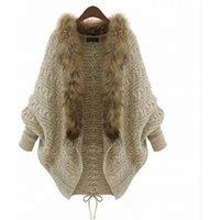 Wholesale Warm Ladies Coat Batwing Sleeve Knitted Women Fur Trim Cardigan Sweaters