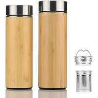 420ml Gift Thermal Stainless Steel Tea Coffee Double Wall Bamboo Travel Mug with Filter