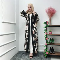 New arrival fashion kimono floral printing muslim cardigan dubai abaya dress