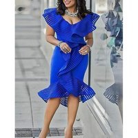 Women Knee Length Career Party Dress Sexy Ruffle Patchwork Tulle Lady Dinner Evening Plus Size Slim Bodycon Tunic Femme Robes