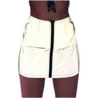 Zipper Front Reflective Skirt Streetwear Fashion Sexy High Waist Bodycon Pencil Mini Skirts Club Wear Y10503